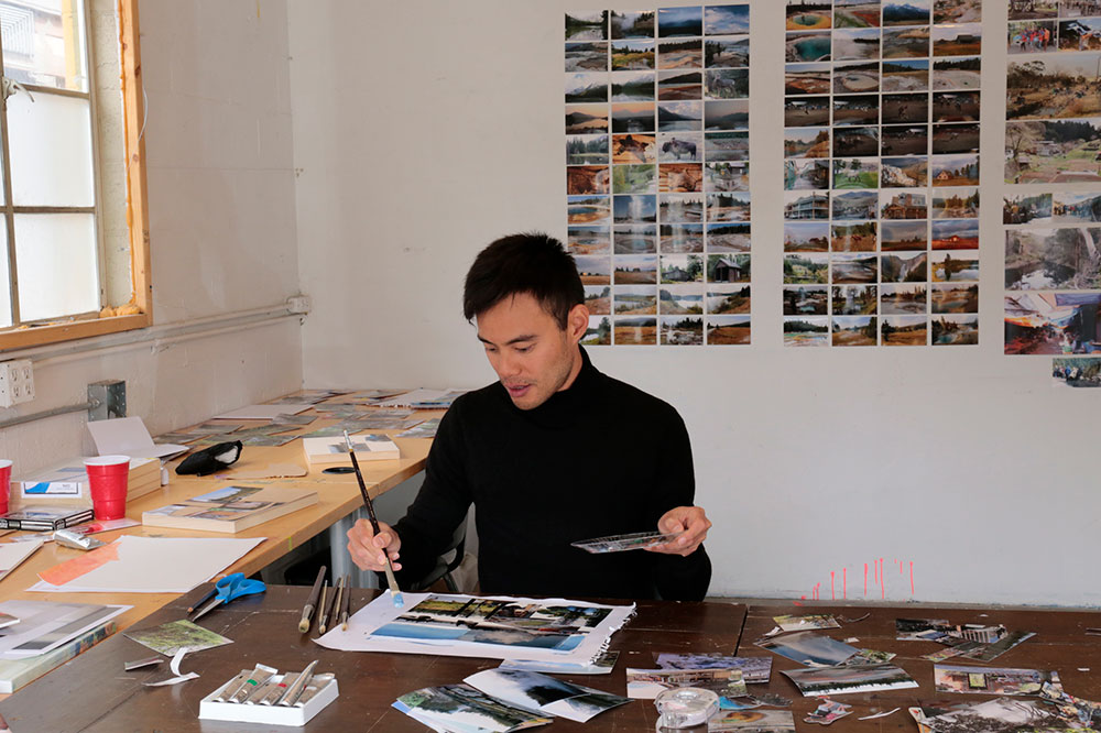 Kevin Chin working in Teton Artlab Residency studio